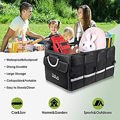 LBLA Car Trunk Organizer with Foldable Cover, Heavy Duty Collapsible Cargo Storage Container, Multipurpose Portable Storage Bin and Carrier for Car, Waterproof (Large): Home Improvement
