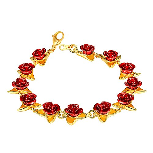 U7 Women Girls Cute 18K Gold Plated Link Red Rose Flower Charm - Rose Flowers Charms