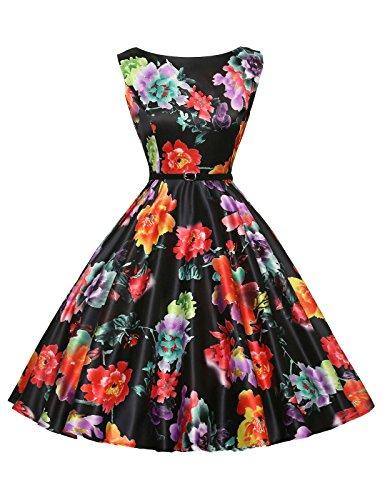 Satin Sundress - Floral 1960s Style Retro Dresses for Women Size 4X F-14