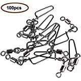 Z&S Pack of 100pcs High-strength 145LP Ball Bearing Size:4/0 Fishing Rolling Swivel with Coastlock Snap