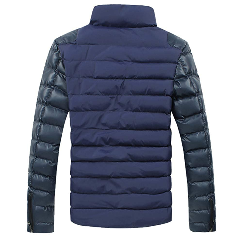 EQKWJ Men Winter Down Jacket Fashion Casual Slim Fit Thicken PU Leather Coats Male Outwear