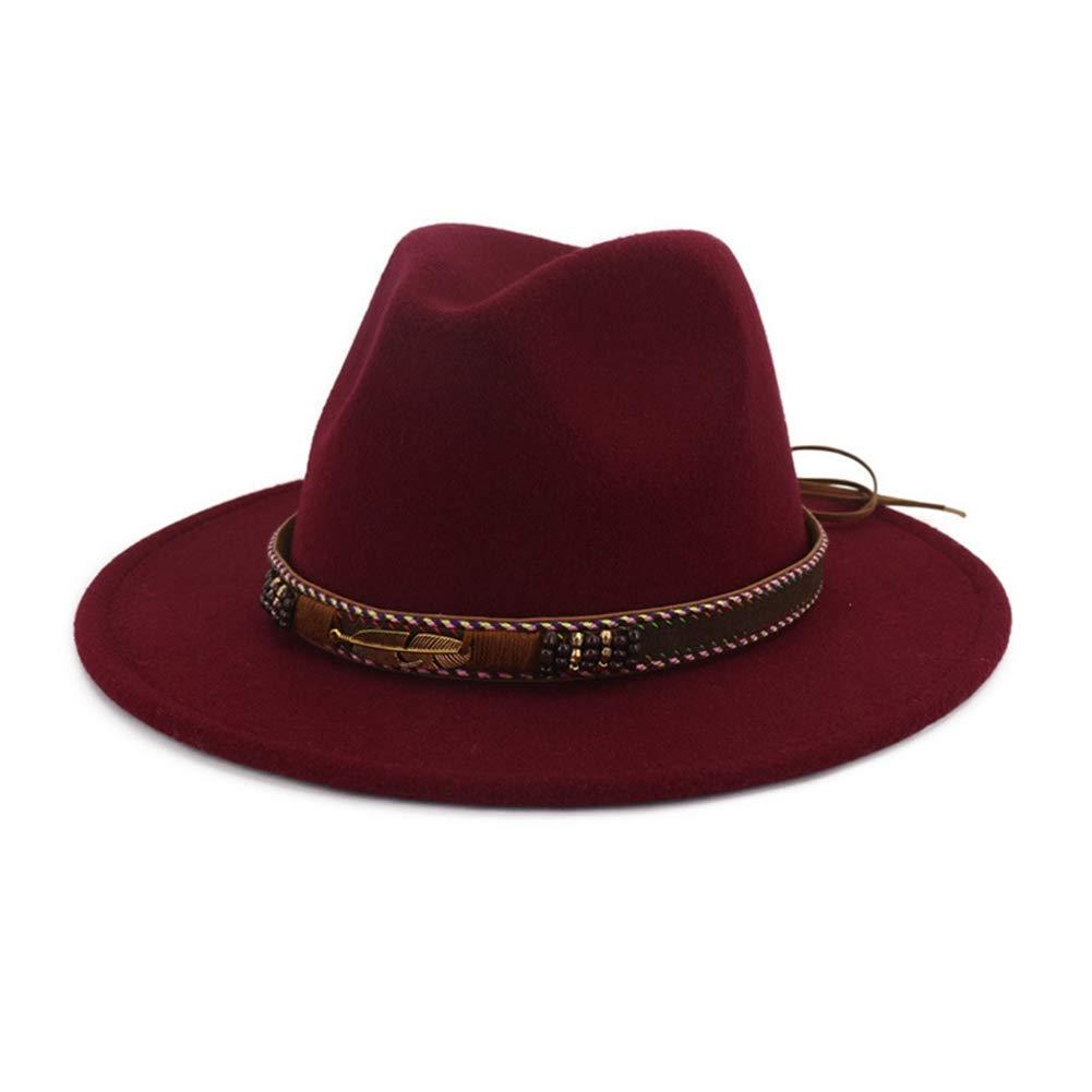 1320a656ce6c54 Wine Red Fedora SANOMY Unisex Unisex Unisex Fedora Hat Classic Wide Brim  Hats Jazz Hats Trilby Caps Bowler Hat 6e79cd