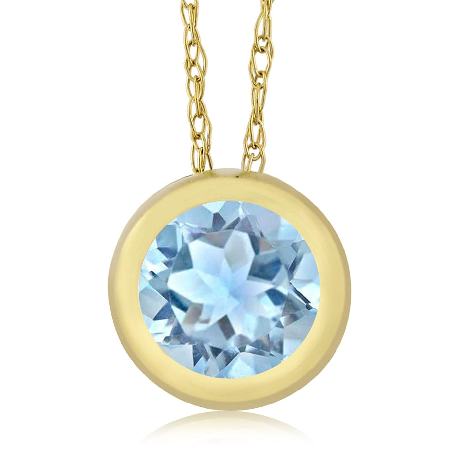 0.75 Ct Round Sky Blue Aquamarine 14K Yellow Gold Pendant With Chain
