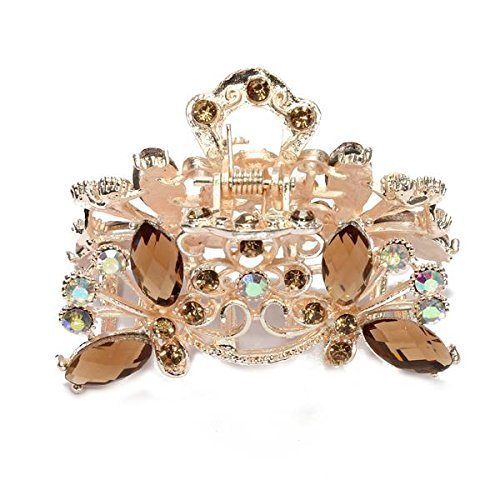 SODIAL(R) Hair Clamp Claw Clip Metal Crystal Glass Coffee Women Hot 35x65mm 028826