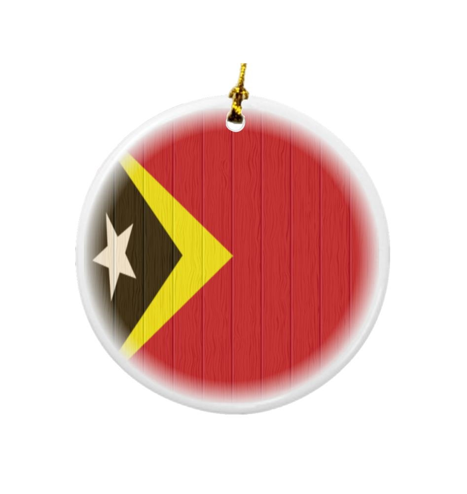 Rikki Knight Timor-Leste Flag on Distressed Wood Design Round Porcelain Two-Sided Christmas Ornaments