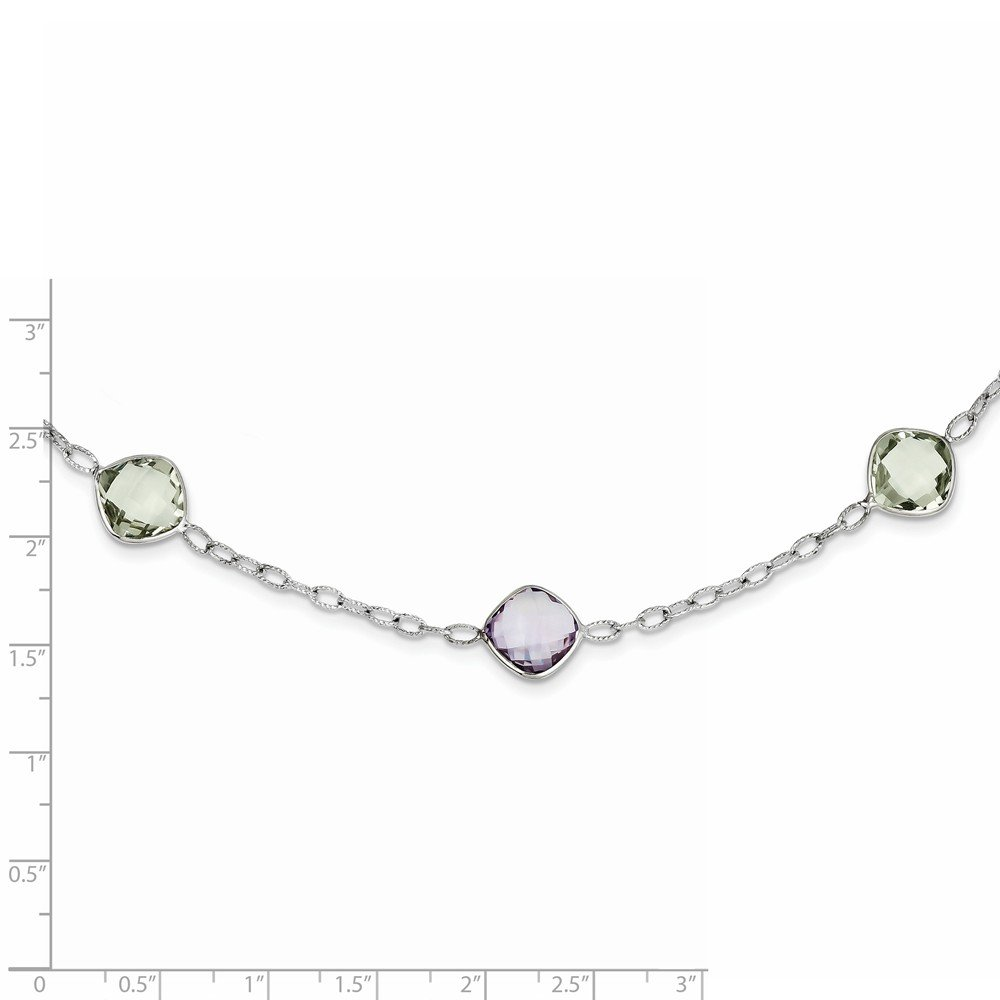 Brilliant Bijou Sterling Silver 18in Amethyst /& Green Quartz Necklace 18 inches