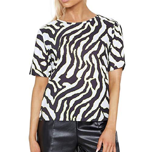 Zebra-Skin Print Tees Tops for Women Short Sleeve Crewneck Summer Fashion T Shirt Fashion Nightclub Novelty Blouses Black