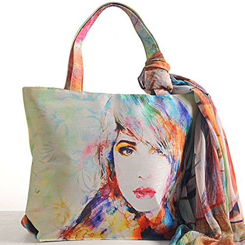 Yuga Printed X Handbags Shopping 11 Fashion Trendy and Bags Scarf Inches White Off 16 With Multipurpose Women Green Digital qIrw7I