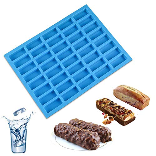 (Bozoa 40 Cavities Rectangle Caramel Candy Silicone Molds for Chocolate Truffles Ganache Jelly Candy Praline Gummy and Ice Cube Tray)