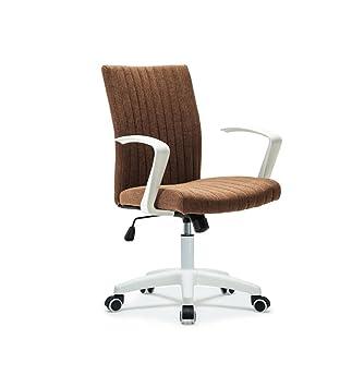 Silla oficina de trabajo casa altura ajustable lino deskchair 360 ° giratorio ergonómico ordenador silla con 5 ruedas | respaldo | reposabrazos: Amazon.es: ...