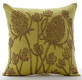 "Luxury Green Shams, Paddy Millet Pillow Shams, 24""x24"" Pillow Sham, Square Cotton Linen Shams, Contemporary Pillow Shams - Greentini"
