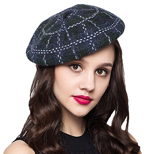 "Maitoseâ""¢ Women's Plaid 100% Wool Beret Blue"
