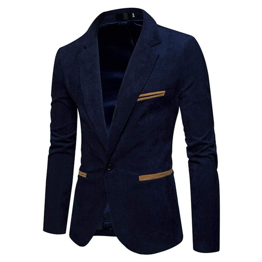 UJUNAORTOP Mens Autumn Winter Casual Corduroy Slim Long Sleeve Coat Suit Jacket Blazer Top