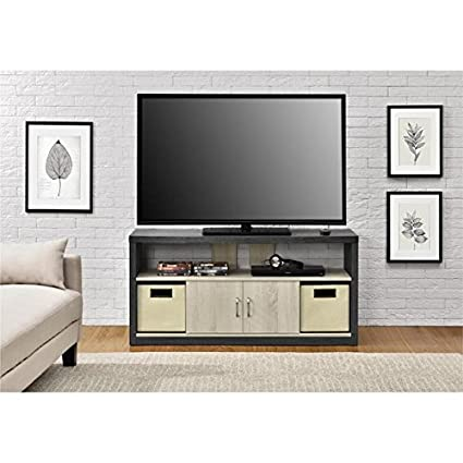 Image Unavailable Amazon.com: Altra Winlen 55 inch TV Stand with 2 Fabric Bins