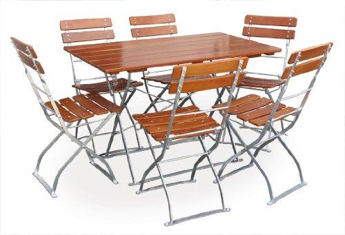 Biergartengarnitur 1x Tisch 120x70 cm & 6x Stuhl EuroLiving Edition-Classic ocker/verzinkt