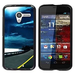TopCaseStore / la caja del caucho duro de la cubierta de protección de la piel - Moonlight Ocean Highway Road Drive - Motorola Moto X 1 1st GEN I XT1058 XT1053 XT1052 XT1056 XT1060 XT105