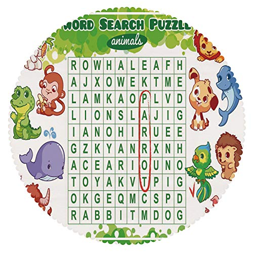iPrint No Chemical Odor Round Tablecloth [ Word Search Puzzle,Educational Game for Kids Decorated with Cute Animals Worksheet Print,Multicolor ] Fabric Tablecloths