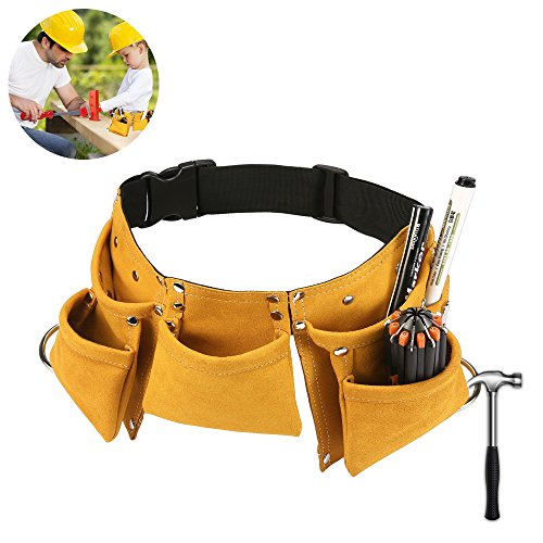 Kids Tool Belt,FiHome Adjustable Childrens Carpentry Tool Candy Pouch Heavy Duty Childs Construction Tool Apron for Costumes Dress Up Role Play (Yellow)