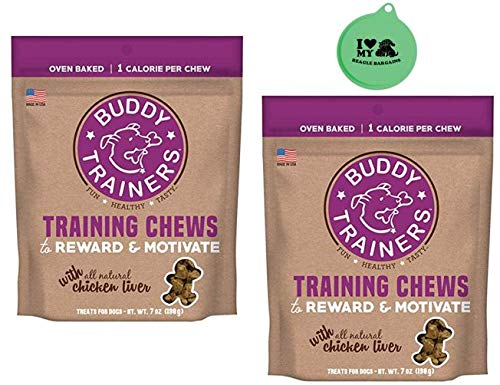 Buddy Trainers - Buddy Trainers Training Chews with All Natural Chicken Liver - 2 Packs, 7 Oz Each - Plus Can Cover (3 Items Total)