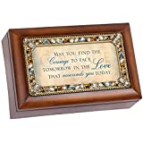 May You Find The Courage Jeweled Woodgrain Jewelry Music Box - Plays Tune Wind Beneath My Wings