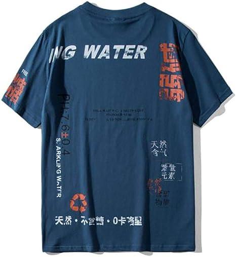 AFASSW Soda Agua Carácter Impreso Camisetas Streetwear 2020 Verano Hip Hop Casual Manga Corta Tops Camisetas Hombre 3-Color Chino Font Pareja Ropa Moda Retro Color: Amazon.es: Deportes y aire libre