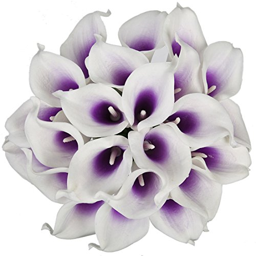 Purple flowers amazon luyue calla lily bridal wedding bouquet head lataex real touch flower bouquets pack of 20 purple white mightylinksfo