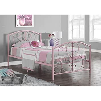 monarch specialties pink metal twin size bed frame only 37 inch - Twin Bed Frame Size