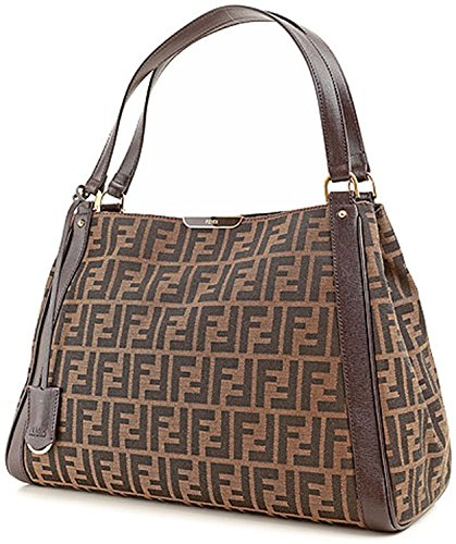 Fendi Zucca Tobacco Dark Brown Shoulder Tote Bag Brown Gold Handbag