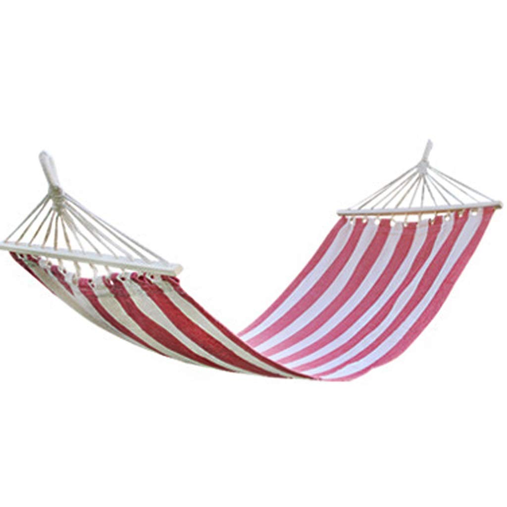 RED Outdoor Leisure Cotton Canvas Hammock with Wooden Sticks Park Swing Hanging Sheets People color Bar Hammock Camping Leisure Hammock Travel Portable Hammock 200×80cm