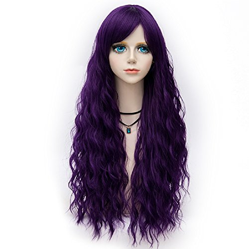 Probeauty Dance Throne Collection 75cm Lolita Long Curly Pastel Ombre Hair Synthetic Cosplay Wig+Cap (Deep Purple F17)