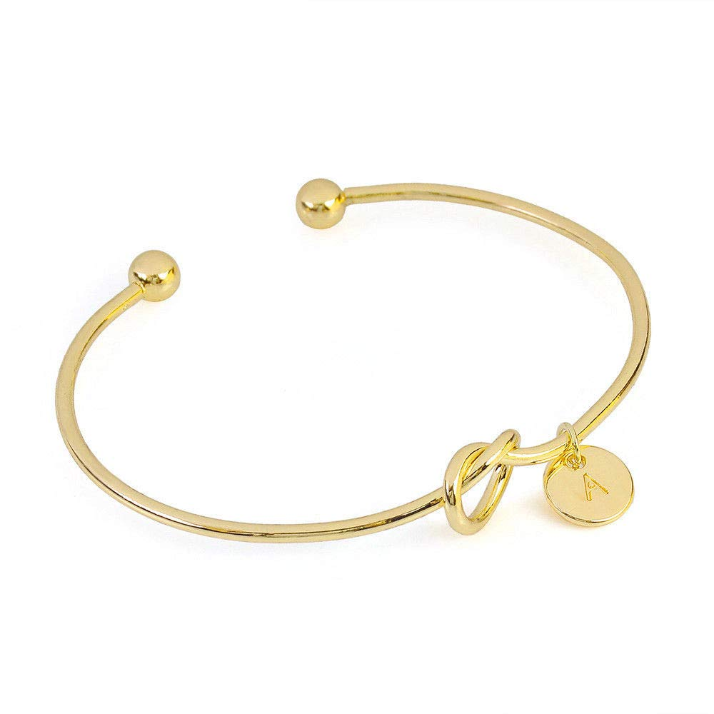 YOMXL Simple Love Knot Bracelet 26 Letters with Heart Charm Tie The Knot Cuff Bangle Pendant Bracelet Bridesmaid Gifts