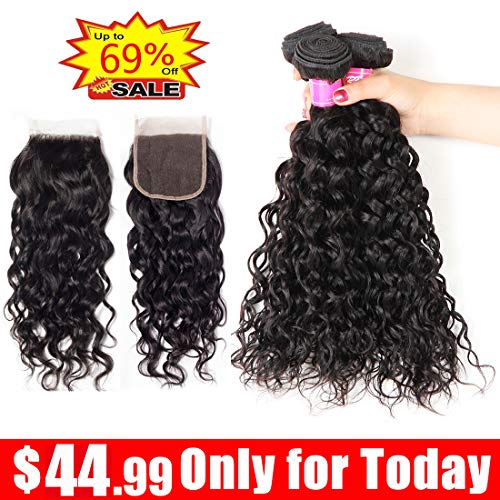 (Ayniss Water Wave 3 Bundles with Closure Human Hair Extension Wet and Wavy Brazilian Virgin Free Part Natural Color For Woman 4x4 Lace Closure(10 12 14+10,4x4 closure))