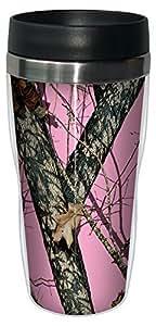 Tree-Free Greetings 77618 Pink Break up by Mossy Oak Camo Vintage Art Sip 'N Go Travel Tumbler, 16-Ounce, Stainless Steel, Multicolored by Tree-Free Greetings