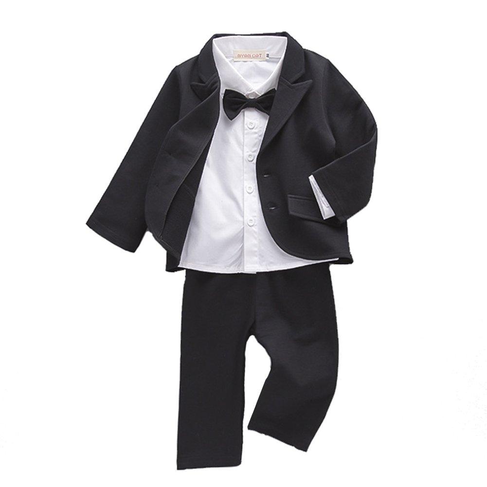 DREAMOWL Baby Boys Tuxedo Shirt Wedding Party Suit Black Formal Wear Suit 3PCS