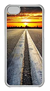 Personalized Custom Road Sunset for iPhone 5C PC Transparent Case