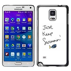[Neutron-Star] Snap-on Series Teléfono Carcasa Funda Case Caso para Samsung Galaxy Note 4 [Apenas guarde Piscina Fish cita de motivación]