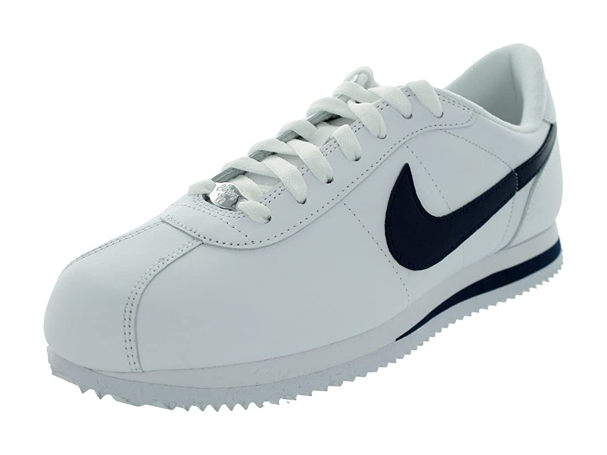 watch f59de 5ab7e Nike Men s Cortez Basic Leather  06 Casual Shoes (White Midnight Navy) (9)   Amazon.co.uk  Shoes   Bags