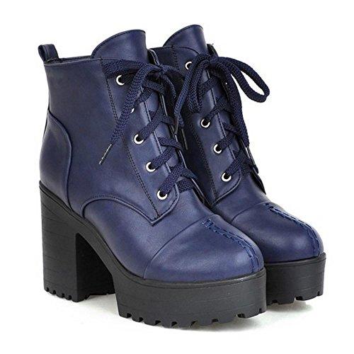 COOLCEPT Women Fashion Autumn Boots Lace Up Blue ZVEWARs