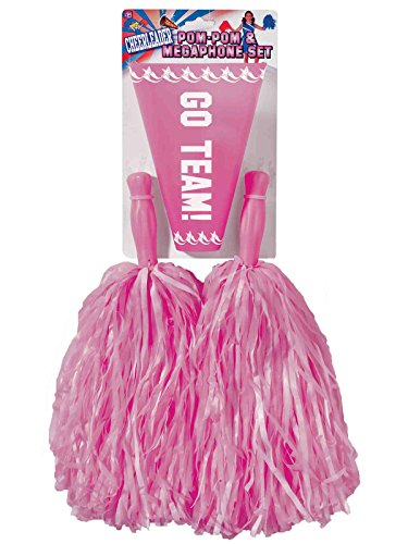 Forum Novelties Pink Cheerleader Pom Poms and Megaphone