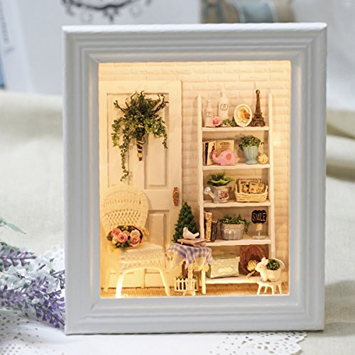 ASIDIY Wooden Miniature DIY Doll House with Furniture,1:24 DIY Dollhouse Kit for Kids & Christmas Gift(Shine Room Dust Cover Included)