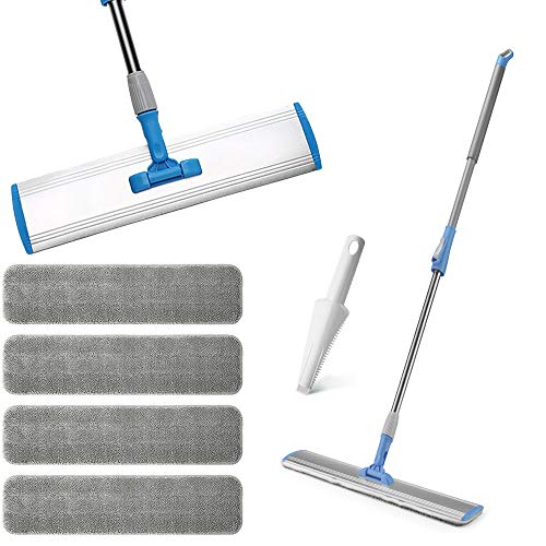 Wet Mop 18″ Microfiber Mop Dry Mop For Home Bathroom Hardwood Laminate Cleaning 4 FREE Microfiber Pads + 1 Dirt Removal Scrubber