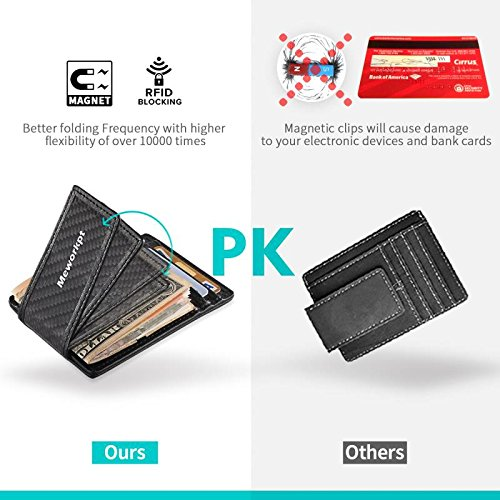 【Gift Box】MeWorkpt Carbon Fiber Front Money Clip Slim Minimalist Wallets with Powerful Magnets Plus RFID Blocking by MeWorkpt (Image #3)