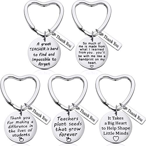 5 Pieces Teacher Gift Key Ring Heart Shaped Charm Jewelry Keychain Stainless Steel Thoughtful Gift Key Chain for Women Teachers (Style B)