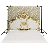 Funnytree 5x7ft Photography backdrops background golden royal bed headboard prince newborn kids baby shower studio