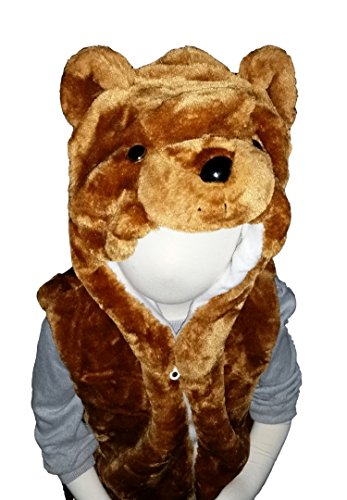 Fashion Vest with Animal Hoodie for Kids - Dress Up Costume - Teddy Bear / Brown Bear (Medium) ()