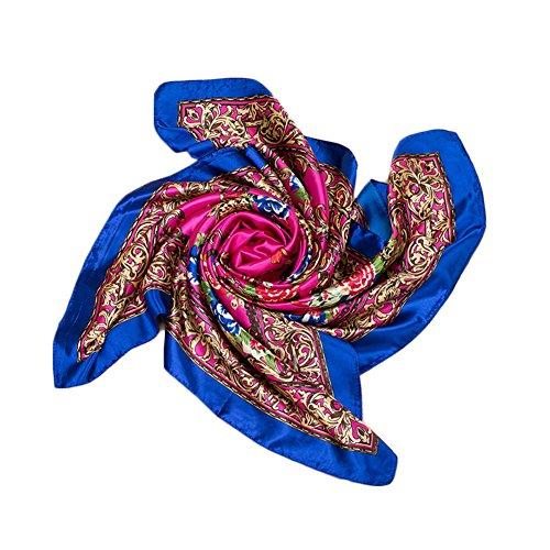 Kook Club Women's Silk Feeling Head Scarf for Sleeping Headband Headdress 13 Dark Blue Side One Piece