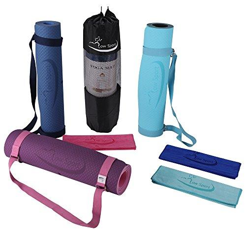 Hot Yoga Mat Set by Low Sport – 100% TPE Yoga Mat, Strap & Carrying Bag + Free Bonus Yoga Hand Towel. Non Slip, Eco-Friendly,Super Elastic,Yoga Mats For Women & Men,Alignment Lines – (Pink) 51P4IoRHWIL
