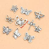 Mixed Tibetan Silver Plated Butterfly Dragonfly Charm Fashion Pendants Bracelet Necklace Accessories Jewelry Making Handmade