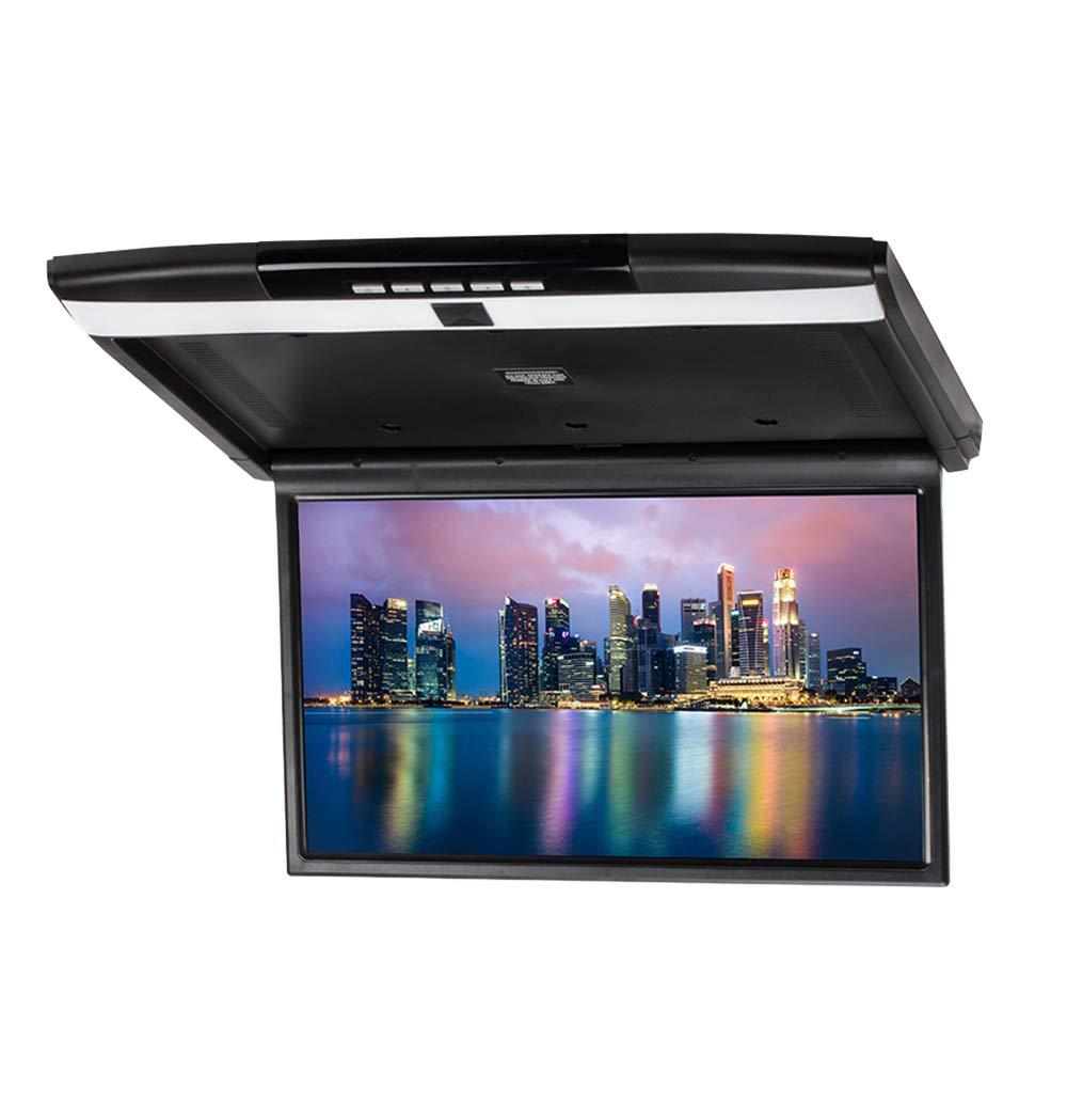 CARAVAN 4K Flip Down Monitor,15.6'' Wide Screen High Resolution Roof Mount Monitor with 1080p HDMI&USB Input, FM&IR Transmitter(Black)