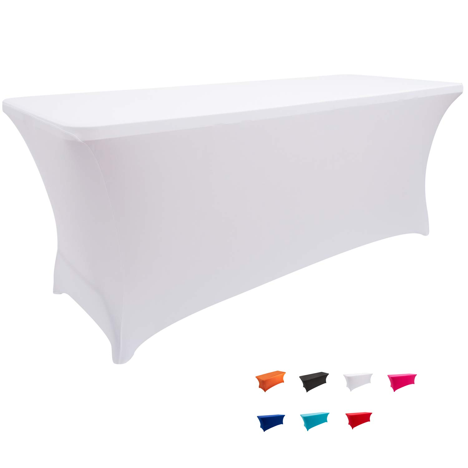FELIZEST Spandex Table Covers, 6 ft/4 ft Spandex Table Cloth, Rectangular Stretch Table Cover for Folding Table (6ft, White)